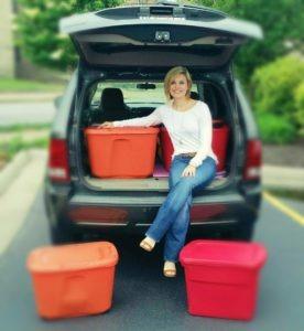 Woman in a car trunk